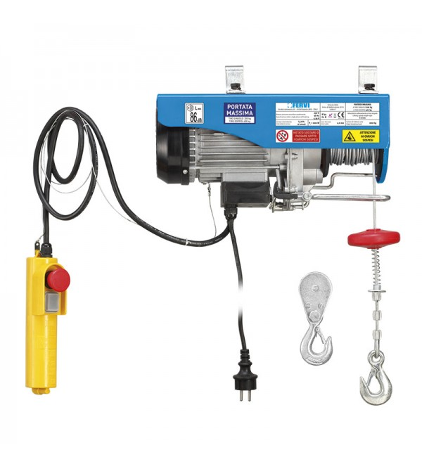 Paranco elettrico monofase Fervi 0602 200/400 Kg 1 kW