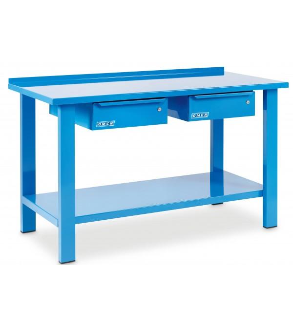 Banco da lavoro 1,5 metri 2 cassetti Blu Omcn 1002