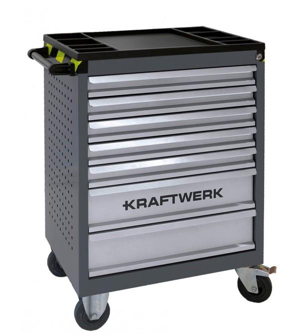 Carrello da officina 7 cassetti  + 95 attrezzi VDE inclusi Kraftwerk 102.117.400