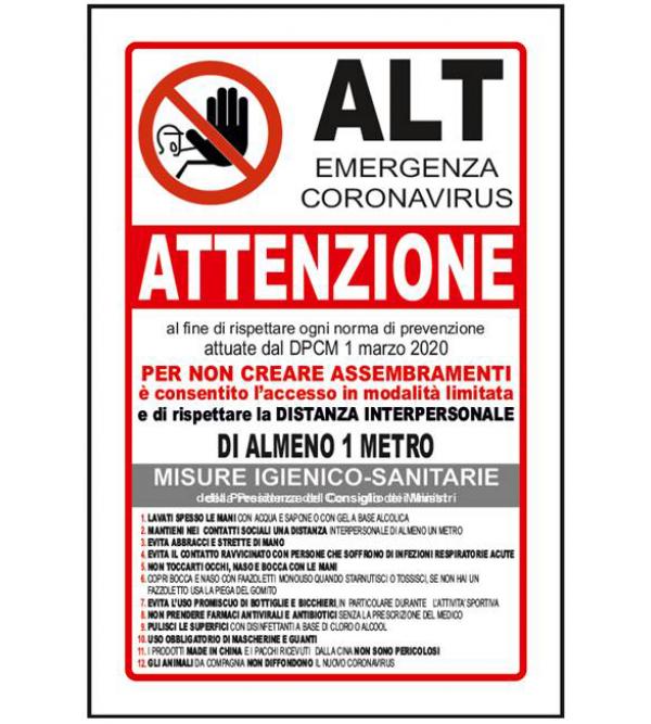 """Cartello di sicurezza """"Alt emergenza coronavi..."""