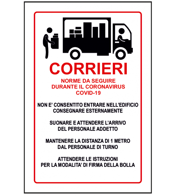 "Cartello di sicurezza ""Corrieri"""