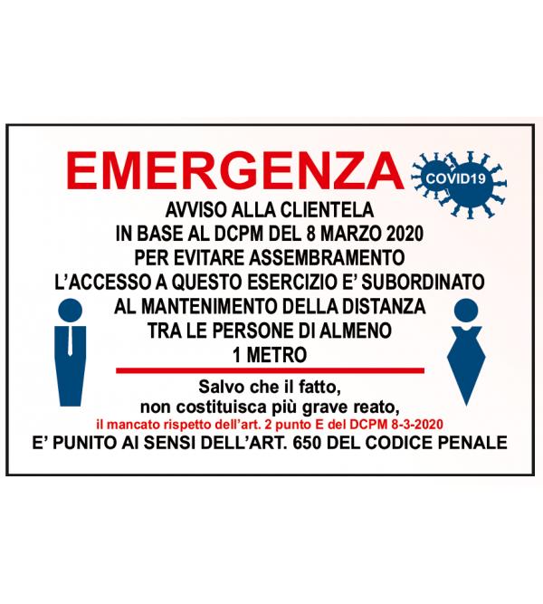 """Cartello di sicurezza """"Emergenza covid-19&quo..."""