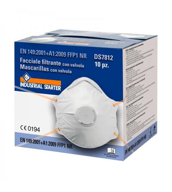 Mascherina facciale Filtrante FFP1 con valvola  Industrial Starter DS7812 (10 pz)
