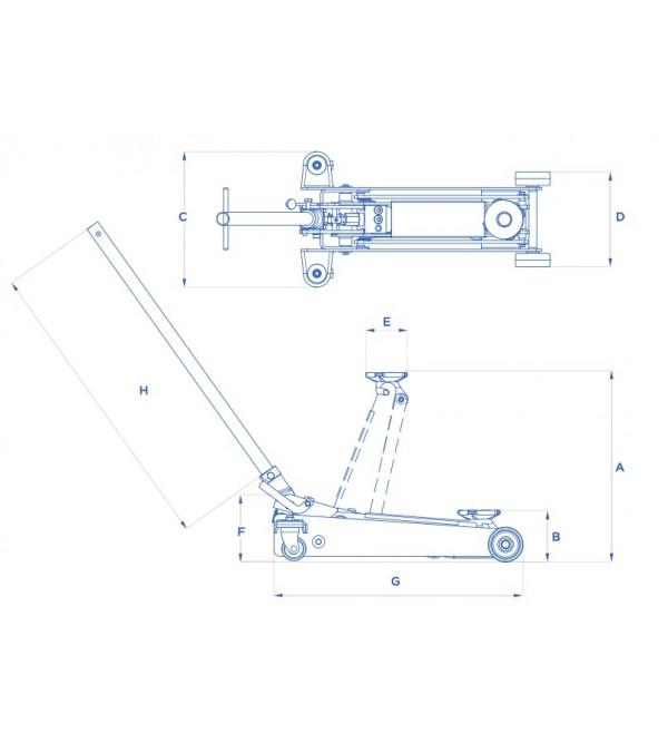 Cric sollevatore idraulico a carrello Omcn 2 ton. 253