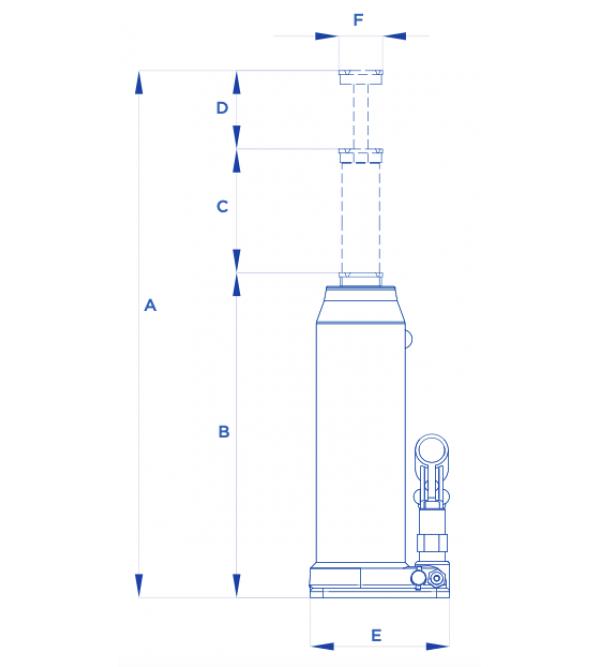 Cric a bottiglia 3 tonnellate Omcn 125