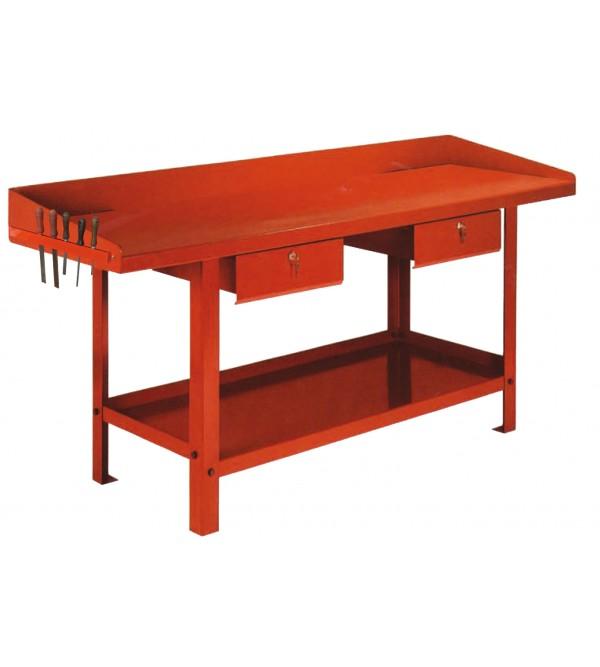 Banco da lavoro 1,5 metri 2 cassetti Rosso Derby GR08