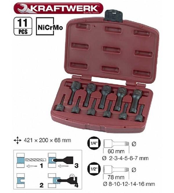 Serie di estrattori Kraftwerkper viti rotte, NicrMo 2-16mm, 11 pezzi