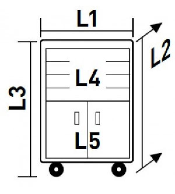 Carrello porta utensili a 4 cassetti e 2 sportelli Kraftwerk (286 pz)