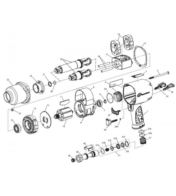 """Chiave pneumatica 3/4"""" attacco corto 2145QiMAX Ingersoll Rand"""